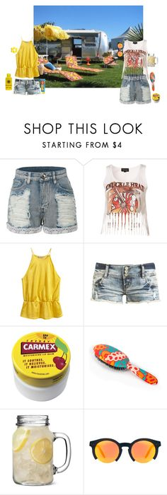 """""""Tanning outside the trailers"""" by thisrandomusername ❤ liked on Polyvore featuring LE3NO, H&M, Wet Seal, Carmex, Rock & Ruddle and ASOS"""