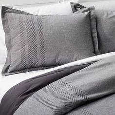 Arrow Embroidered Chambray Comforter Set (Full/Queen) Grey - Threshold™ : Target