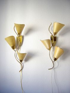 Set of 2 extremely Rare Mid Century Modern SERPENTINE Sputnik WALL LAMPS | Wall Lights | Sconces 1950s