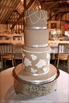 Latte Lace & Pearls Wedding Cake