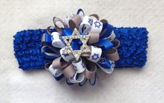 Hanukkah Star of David Loopy Puff  Hair Bow With by LacyMaries