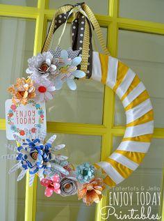 paper flowers, spring wreaths, printabl