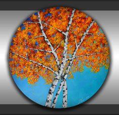 ORIGINAL Birch Trees Painting Modern Textured Art by ZarasShop, $165.00