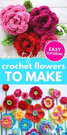 If you are looking for beautiful ways to embellish your world, these crochet flowers will do the trick. There are some amazing crochet flower patterns! Knitted Flowers Free, Crochet Flower Hat, Crochet Brooch, Crochet Flower Tutorial, Crochet Leaves, Knit Flowers, Crochet Roses, Crochet Applique Patterns Free, Crochet Butterfly Free Pattern
