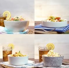 4 easy to assemble pasta salads are great for any BBQ! Plus they all pair perfectly with Gold Peak sweet iced tea.