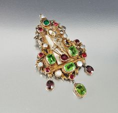 Austro Hungarian Brooch Pendant Necklace Pearl Peridot by boylerpf