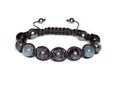 Larvikite and Sardonyx Mens Bracelet, Natural Stone Jewelry, Hematite and Grey…