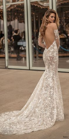 berta spring 2018 bridal long sleeves off the shoulder sweetheart neckline full embellishment sexy elegant fit and flare wedding dress open low back medium train (3) bv -- Berta Spring 2018 Wedding Dresses