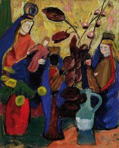 gabrielle munter paintings | Gabriele Münter - Drei Madonnen mit dunklen Blättern