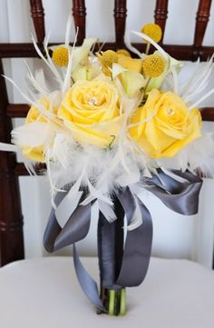 Modern Yellow & Slate Wedding Inspiration (billy balls/craspedia bouquets calla red sole events natalia zamarripa photography) - Lover.ly