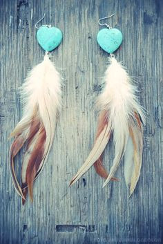 Sweet Hearts Turquoise Feather Earrings by francisfrank on Etsy, $30.00