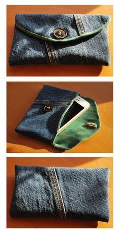 """Handytasche für meinen Mann nach dem Schnittmuster von Pattydoo """"Bowie"""". Upcycling: Außenstoff (alte Jeanshose), Innenfutter (altes T-Shirt) und Knopf (von einer alten Jacke) sind gebraucht. Nur das Nähgarn und das Volumenfließ waren neu."""