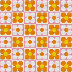 Retro Flowers Wallpaper Cross-Stitch Pattern by Hollie Harris Beaded Cross Stitch, Cross Stitch Flowers, Cross Stitch Embroidery, Embroidery Patterns, Cross Stitch Designs, Cross Stitch Patterns, Mochila Crochet, Cross Stitch Cushion, Pixel Pattern