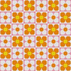 Kitschy Digitals :: Sewing Needlework Patterns :: Retro Flowers Wallpaper Cross-Stitch Pattern