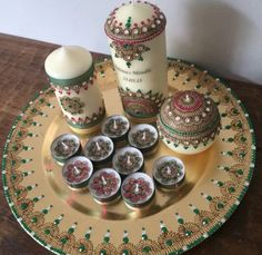 Beautiful henna or mehndi candles on tray, perfect