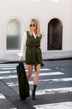 Brooke Testoni embraces a touch of masculine with the Camilla and Marc Astor Military Dress as a staple for summer