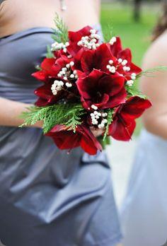 Ruby red amaryllis #bouquet via openlightstudio harvey designs events