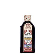 Wysokolinolenowy olej lniany marki Laboratorium Biooil. Najwyższa jakość, wysooka zawartość kwasów Omega 3, doskonały do diety dr Budwig. Jack Daniels Whiskey, Sauce Bottle, Whiskey Bottle, Drinks, Omega, Drinking, Beverages, Drink, Beverage