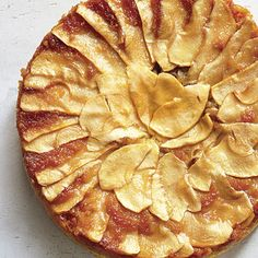 Apple Upside-Down Cake  _    Mild Rome apples are great for baking. You can also use Pink Lady, Honeycrisp, or Jonagold apples. Dollop the cake with a bit of whipped cream, if desired.