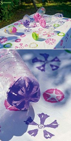 Environmentally friendly DIY is worth learning Page 25 of 55 Sciliy - Diy Gifts Diy For Kids, Crafts For Kids, Diy And Crafts, Arts And Crafts, Diy Bottle, Spring Party, Toddler Art, Flower Stamp, Preschool Art