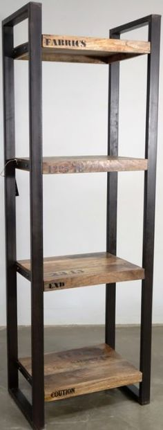 Reclaimed Wood Bookcases and Shelves Reclaimed Wood Bookcase, Reclaimed Furniture, Wood Shelves, Industrial Furniture, Iron Furniture, Custom Made Furniture, Steel Furniture, Furniture Design, Wood Steel