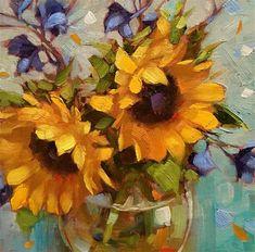 "Daily Paintworks - ""Finding Joy"" Original Fine Art for Sale © Krista Eaton♥🌸♥ Soft Pastel Art, Sunflowers And Daisies, Sunflower Art, Impressionism Art, Art Auction, Fine Art Gallery, Illustrations, Artist Art, Beautiful Paintings"
