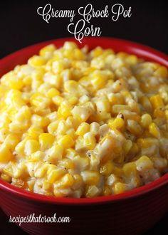 Creamy Crock Pot Corn..2 pkgs. frozen corn (12 oz) 8 oz pkg of cream cheese 1/4 c butter, cubed 2 T sugar 1 t salt 1/2 t pepper