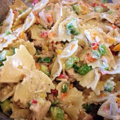 Bow Tie Pasta Salad with Asiago Romano Alfredo, Grilled Chicken, Mitzithra & Romano Cheese, Red Green & Yellow Peppers, Persian Cucumber and Green Scallion Onion