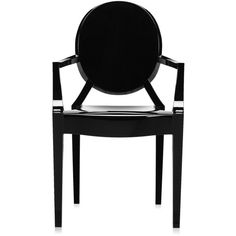 Kartell Louis Ghost Armchair - Glossy Black (405 CAD) ❤ liked on Polyvore featuring home, furniture, chairs, accent chairs, black, ebony furniture, stackable chairs, ghost armchair, black chair and ghost chairs