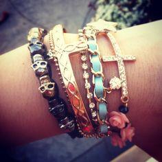 Bracelets #nastygal #skulls #cross #rosebowl