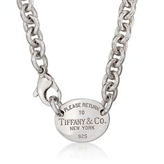 C. 2000 Vintage Tiffany Jewelry Sterling Silver ID Tag Necklace. 15.5""