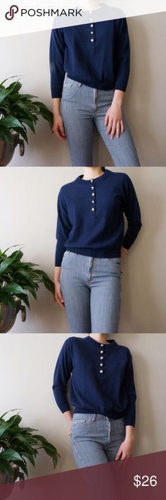 "Vintage Wool Sweater Navy blue wool buttoned sweater. 100% lambswool. ¾ sleeves and slightly cropped. Size Small/Medium, but fits more like a Small. I'm 5'8"" and a small for reference. It's a little itchy, so I wouldn't recommend it to anyone with sensitive skin. Made in Great Britain Vintage Sweaters"