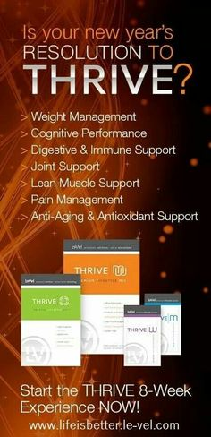 OMG, this is the very best thing that has happened to my brain & body! Brain fog GONE & TONS of ENERGY! The kids say, Mom did you take your Thrive?  I wouldn't miss it! Email thriveon@live.com for samples or order at www.lifeisbetter.le-vel.com