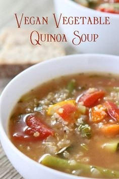 Meatless Monday with Vegan Vegetable Quinoa Soup Soup Recipes, Whole Food Recipes, Vegetarian Recipes, Cooking Recipes, Dinner Recipes, Quinoa Vegetable Soup, Quinoa Soup, Elimination Diet Recipes, Anti Candida Recipes