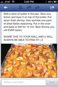 ITALIAN SEASONING SHRIMP (1 lb. shrimp.  Recipes on the photo)!  Butter overkill: I recommend cutting the butter back to 3/4 stick.  THIS IS EASY & VERY DELICIOUS! #food #recipe