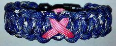 Breast Cancer Awareness bracelet, (Pink Ribbon on Blue Camo)