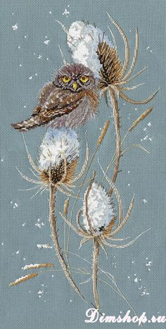 Your place to buy and sell all things handmade - NEW UNOPENED Russian Counted Cross Stitch Kit Golden Hands Cross Stitch Owl, Cross Stitch Animals, Counted Cross Stitch Kits, Cross Stitch Flowers, Cross Stitch Designs, Cross Stitch Patterns, Bird Embroidery, Cross Stitch Embroidery, Needlepoint
