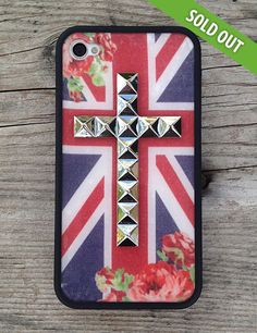 Wildflower British Rose Silver Cross Case iPhone 4/4s