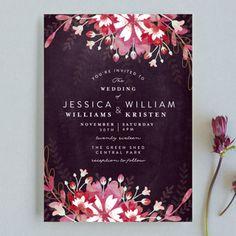 """Enchanting Plum"" - Floral & Botanical Wedding Invitations in Deep Plum by Phrosne Ras."
