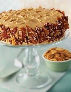 Sweet Potato Cake with Molasses Cream Cheese Frosting & Georgia Pecan Crunch -recipe from the Georgia Pecan Commission!