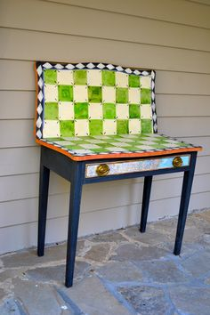 Vintage Handpainted Green Check Game Table