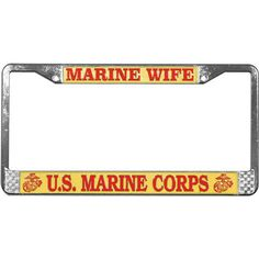 4 Chrome Custom License Plate Frame Screw Snap Caps Covers USMC Marine Corps B