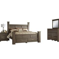 Signature Design by Ashley Juararo Bedroom Set with Queen Bed Nightstand Dresser and Mirror *** For more information, visit image link.