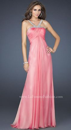 Look at this gorgeous La Femme Elegant Chiffon Halter Top Prom Dress 17452. Simply stunning! Find this and other great La Femme dresses at frenchnovelty.com