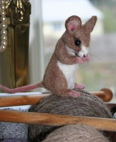 Life Size Tan Yarn Mouse. Great for Yarn Baskets 100 percent Alpaca Needle Felted. $195.00, via Etsy.