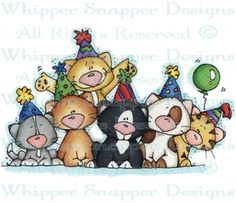 Party Kittens - Cats - Animals - Rubber Stamps - Shop