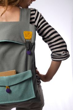 big laptop backpack in grey and mint with crochet por Marinsss, $69,00