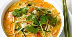 This quick meal for two hails from Malaysia and takes just 20 minutes to prepare. Warming prawn noodle broth with spicy Laksa paste is topped with cucumber and coriander.