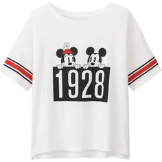 UNIQLO Women's Disney Project Graphic Tee ($15) ❤ liked on Polyvore featuring tops, t-shirts, shirts, disney, graphic tees, white, white tops, t shirt, white tee and white shirt