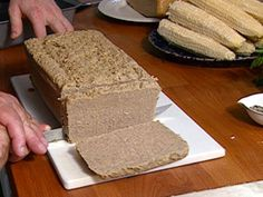 Scrapple recipe from FoodNation with Bobby Flay via Food Network Barefoot Contessa, Food Network Recipes, Food Processor Recipes, Chopped Liver, Recipe Using, Recipe Box, Other Recipes, Back Home, Breakfast Recipes